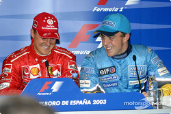 Press conference: pole winner Michael Schumacher with Fernando Alonso
