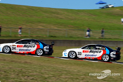 Rookie Jamie Whincup follows team mate Garth Tander
