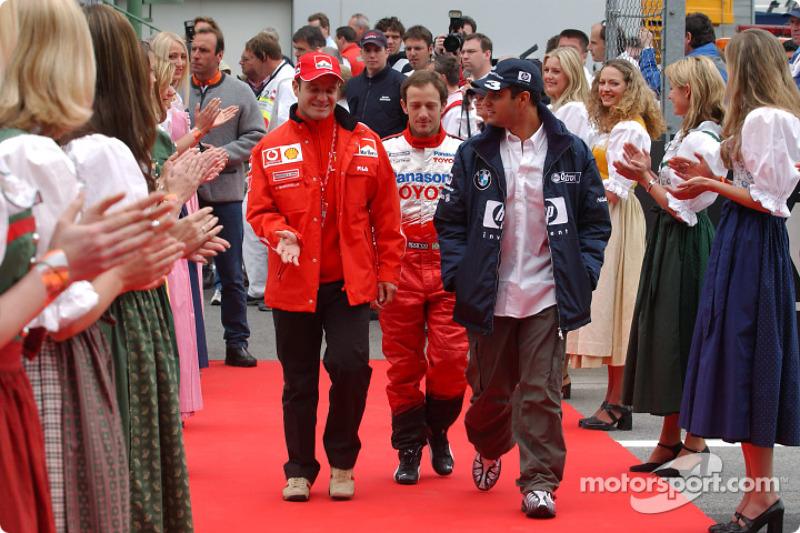 Presentación de pilotos: Rubens Barrichello, Cristiano da Matta y Juan Pablo Montoya