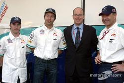 Nick Heidfeld, Heinz-Harald Frentzen, Prince Albert of Monaco and Peter Sauber