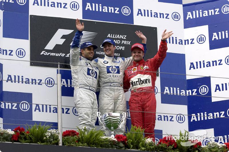 2003. Нюрбургрінг. Подіум: 1. Ральф Шумахер, Williams-BMW. 2. Хуан-Пабло Монтойя, Williams-BMW. 3. Рубенс Баррікелло, Ferrari