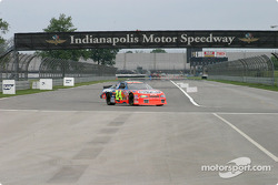Juan Pablo Montoya at the end of the backstraight on Indy's road course