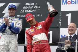 The podium: third place for Michael Schumacher