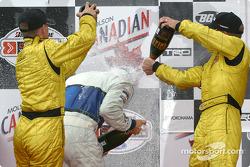 The podium: champagne for A.J. Allmendinger, Aaron Justus and Jonathan Macri