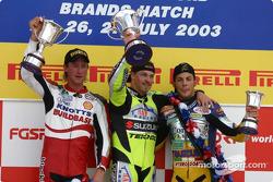 The podium: race winner James Ellison with Luke Quigley and Michel Fabrizio