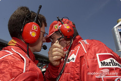 Chris Dyer and Ross Brawn on the starting grid