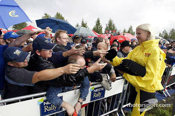 Fans and a Pirelli girl