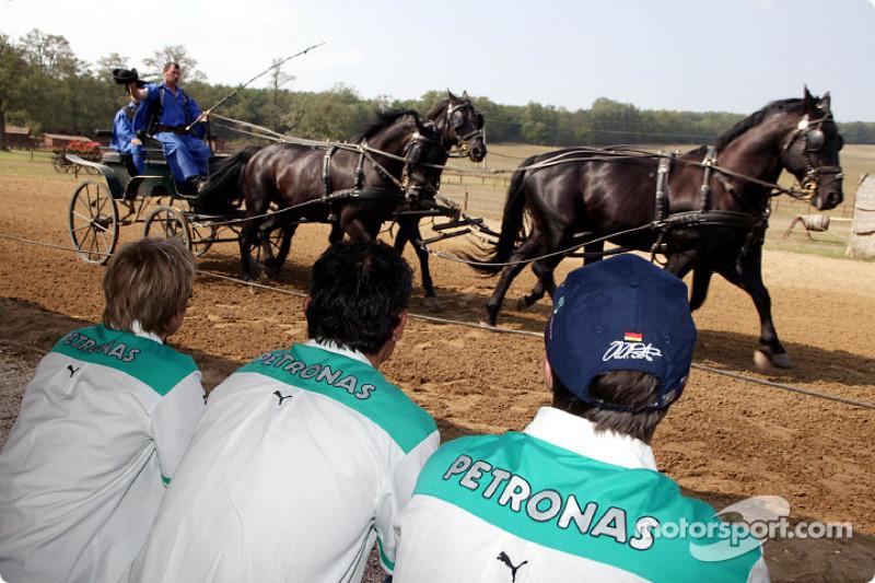 Equipo Sauber visitar un parque típico de caballos Húngaro: Nick Heidfeld y Heinz-Harald Frentzen
