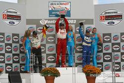 Podium: race winner Michel Jourdain Jr. with Oriol Servia and Patrick Carpentier