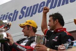 Shayne Byrne + Team Owner Paul Bird celebrate the title victory