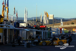 The sun rises over the paddock area Saturday at Mazda Raceway Laguna Seca as American Le Mans Series race teams start their day
