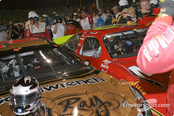 Incident in pitlane between Kevin Harvick and Ricky Rudd: Harvick sideswiped Rudd