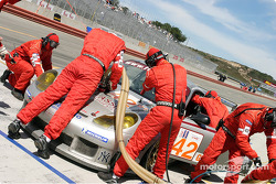#42 Orbit Racing Porsche 911 GT3RS during a pit stop