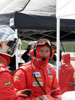 #29 JMB Racing USA/Team Ferrari crew after their car completes a pit stop