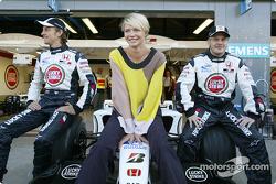 Supermodel Jodie Kidd with Jenson Button and Jacques Villeneuve
