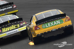 Flames on Matt Kenseth's car