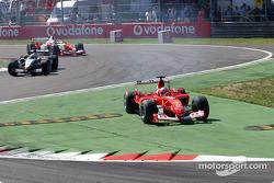 First lap: Rubens Barrichello cut the chicane