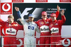 Podium: race winner Michael Schumacher with Ross Brawn, Juan Pablo Montoya and Rubens Barrichello