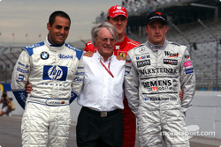 Bernie Ecclestone poses with Juan Pablo Montoya, Michael Schumacher and Kimi Raikkonen