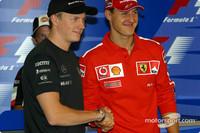 Thursday FIA basın toplantısı: Dünya Şampiyonası contenders Kimi Raikkonen ve Michael Schumacher