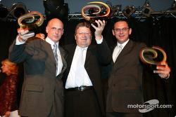 Opel-Sportchef Volker Strycek, Mercedes-Sportchef Norbert Haug und Abt-Teamchef Hans-Jürgen Abt