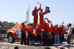 Pornsawan Siriwattanakul and Philippe Bocandé celebrate on the finish podium