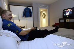 Subaru driver Mikko Hirvonen relaxes in his room before the start of the 2004 Monte Carlo Rally
