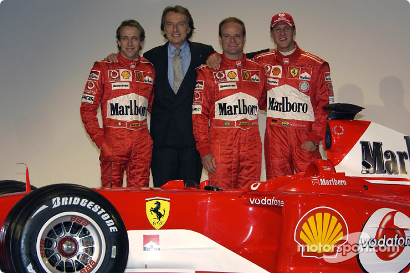 Luca Badoer, Luca di Montezemelo, Rubens Barrichello ve Michael Schumacher ve yeni Ferrari F2004