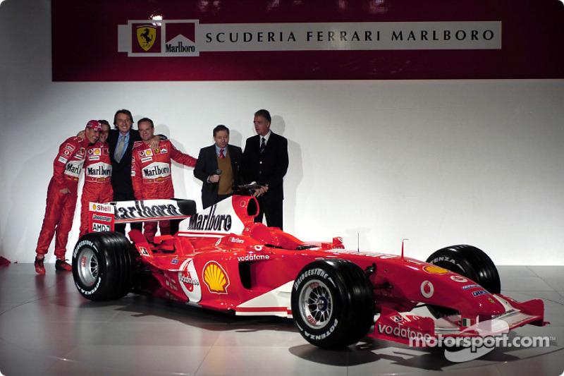 Michael Schumacher, Luca Badoer, Luca di Montezemelo, Rubens Barrichello, Jean Todt ve Piero Ferrari