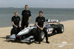 McLaren presentation on a beach near Melbourne: Kimi Raikkonen, Alexander Wurz and David Coulthard