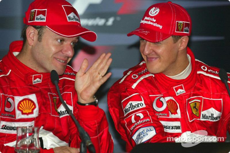 Kazanans basın toplantısı: Rubens Barrichello ve Michael Schumacher