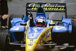 Fernando Alonso celebrates podium finish