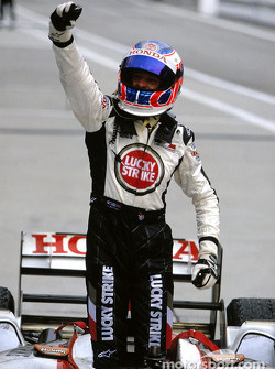 Jenson Button celebrates third place finish