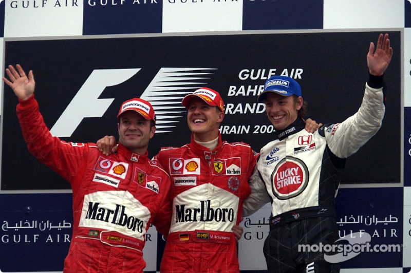 2004: 1. Michael Schumacher, 2. Rubens Barrichello, 3. Jenson Button