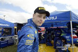 Mikko Hirvonen at Subaru World Rally Team service area