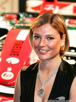 Jaguar Racing and Steinmetz present the Diamond Jaguar R5: supermodel Bridget Hall poses with a Steinmetz diamond necklace
