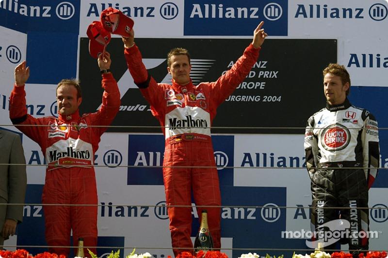 2004: 1. Michael Schumacher, 2. Rubens Barrichello, 3. Jenson Button