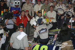 Race winner Jimmie Johnson arrives on victory lane