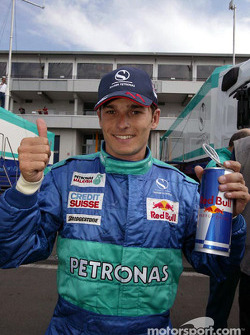 Giancarlo Fisichella celebrates 6th place finish