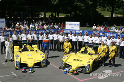 Team photo: WR cars with teams and drivers Tristan Gommendy, Jean-Bernard Bouvet, Patrice Roussel, Olivier Porta, Yojiro Terada