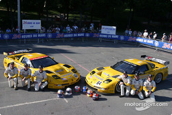 Team photo: Corvette Racing Corvette C5-R cars with drivers Max Papis, Johnny O'Connell, Ron Fellows, Oliver Gavin, Olivier Beretta, Jan Magnussen