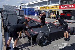 Cars and material arrive at the Circuit Gilles-Villeneuve