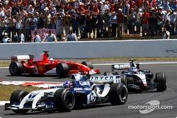 Juan Pablo Montoya, Kimi Raikkonen and Rubens Barrichello