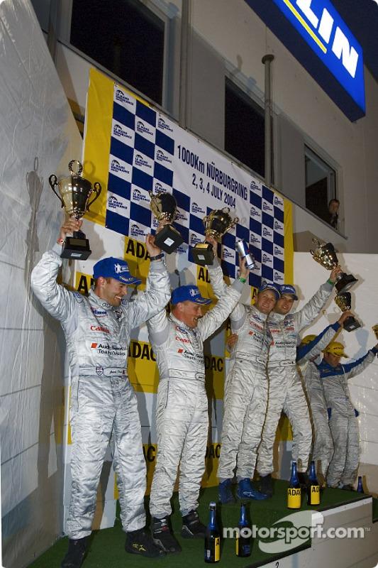 Podium: race winners Allan McNish and Pierre Kaffer, with Jamie Davies and Johnny Herbert, and Nicolas Minassian and Jamie Campbell Walker