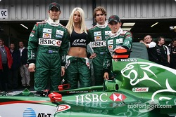 Mark Webber, Emma B., Bjorn Wirdheim and Christian Klien promote the new PlayStation 2 game Formula One 04