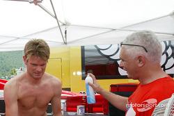 Marcus Gronholm and Marlboro Peugeot Total osteopath Alex Baraha