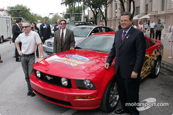 Vice President of Ford Motor Company Cisco Codina, Mark Martin and Homestead-Miami Speedway President Curtis Gray unveil the special 2005 Ford Mustang GT pace car