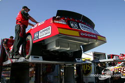 Evernham Racing crew unload the transporter