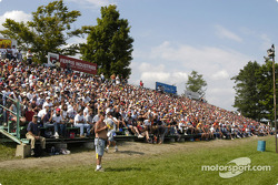 Packed grandstands outside of turn one