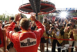 Rubens Barrichello celebrates pole position